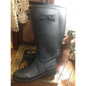 Marc Jacobs-Black Rubber Rain Boots with Skull